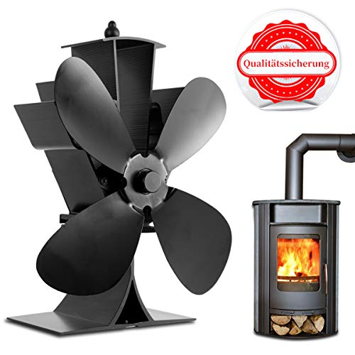 Ventilatore per camini a legna, funzionamento senza corrente, 4 Elica-Protezione Ambientale [Classe di efficienza energetica A+++]