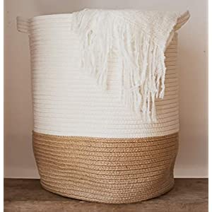 Extra Large Woven Storage Baskets | 18″ x 16″ Decorative Blanket Basket for Living Room, Pillows, Towels, Toys or Nursery | Cotton Jute Rope Basket | Coiled Laundry Hamper Basket with Handles