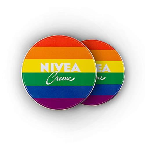 NIVEA Creme im 2er Pack (2 x 75 ml), Limited Edition im Regenbogen-Design, Hautcreme für den ganzen Körper, pflegende Feuchtigkeitscreme, alle Hauttypen, ohne Parabene, ohne Konservierungsstoffe
