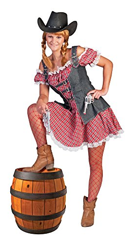 Funny Fashion Disfraz Vaquera Cheque Vestido con Chaleco Disfraz Halloween USA Cowboys (44/46)