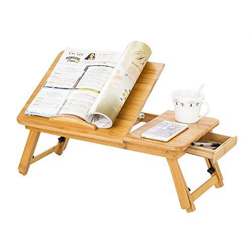 Mesa de cama plegable para ordenador ajustable soporte para portátil con cajón escritorio PC de bambú bandeja de desayuno AU cama inclinable para Tablet para Camping parque, color bambú natural
