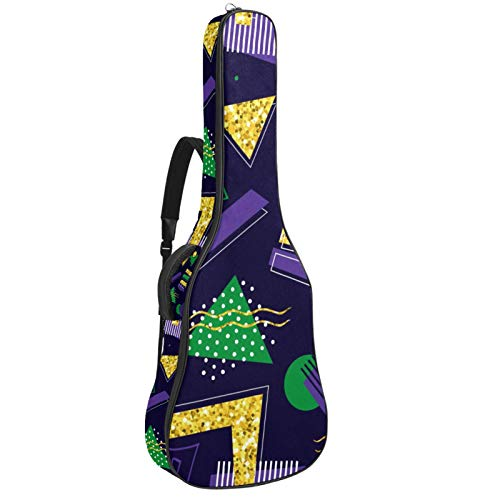 Funda acolchada para guitarra eléctrica, diseño geométrico, color verde, morado y dorado