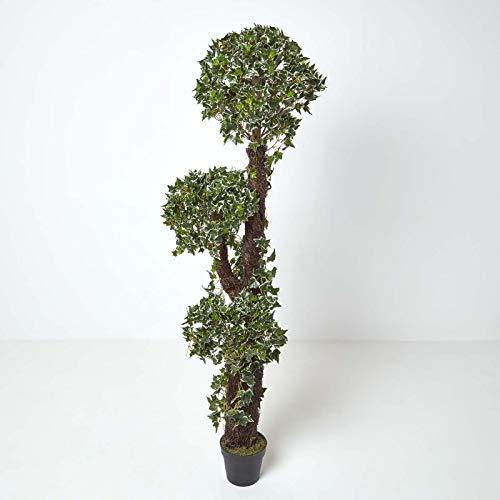 Homescapes Kunstpflanze künstlicher Strauch Grün/Natur immergrüner gewundener Efeu 180 cm hoch