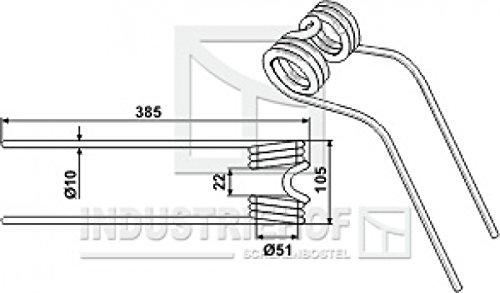 Kreiselheuerzinken L x B x S: 385 x 105 x 10 mm für Stoll: Farbe Weiß/Best.-Nr. 15-STO-01