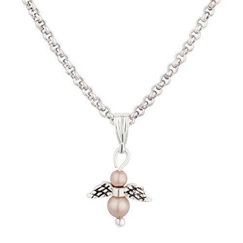 Selected Jewelry Karin Stemmler - Collana da donna con ciondolo a forma di angelo custode, in acciaio inox con perle Swarovski, 45 cm + 5 cm e Acciaio inossidabile, colore: Rosa, cod. 33531