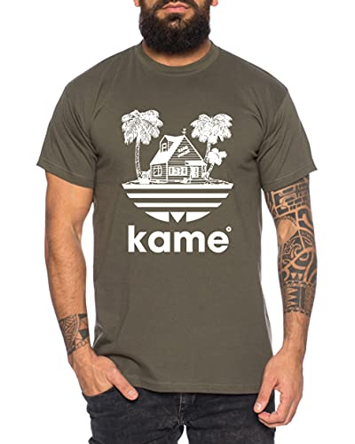Tee Kiki Adi Kame House - Camiseta de Hombre One Goku Dragon Master Son Ball Vegeta Turtle Roshi Piece Golds Db, Größe2:Large, Farbe2:Caqui