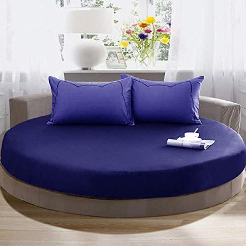 CYYyang Funda de colchón Anti chinches, Transpirable, Funda de Cama Redonda de algodón Puro-Azul Real_2.2m