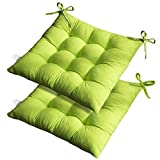 Dining Chair Cushions, 2 Pack Thick Soft and Comfortable Garden Chair Seat Pads Cushions with Ties for Indoor Outdoor Car Office Patio (Green)
