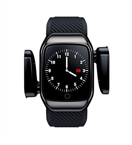 Aliwisdom 2 in 1 Smartwatch mit Kabellosen Bluetooth Kopfhörer, Fitness Armband Sportuhr Aktivitätstracker und TWS Bluetooth 5.0 In-Ear Sport Kabellose Ohrhörer für Herren Damen Kinder (Schwarz)