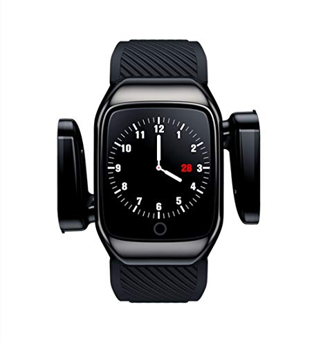 Aliwisdom - Orologio intelligente con auricolari wireless Bluetooth, smartwatch da uomo, unisex, con tracker, TWS, auricolari wireless stereo 6D, Bluetooth 5.0, per iOS Android (nero)