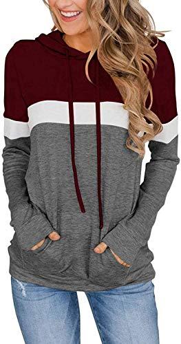 Leefrei Sudadera con capucha de manga larga para mujer, de gran tamaño, con cordón, fina y ligera borgoña XL