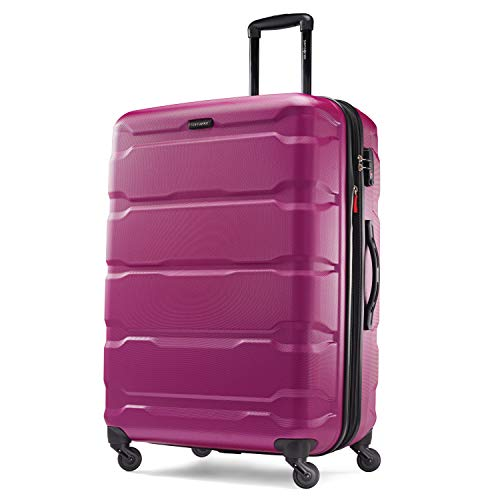 Samsonite Omni PC Hardside Expandable Luggage with Spinner Wheels, Radiant Pink, Checked-Large 28-Inch