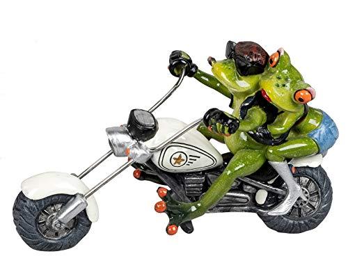 dekojohnson Divertida figura decorativa de rana en moto, figura decorativa de animalito graciosa rana en moto chopper, pareja en ciclomotor, verde y blanco, 13 x 19 cm