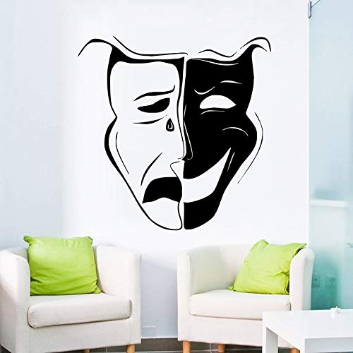 hetingyue Comédie Art Tragédie Emotional Actor Theater masker vinyl sticker muur kunst design decoratie huis