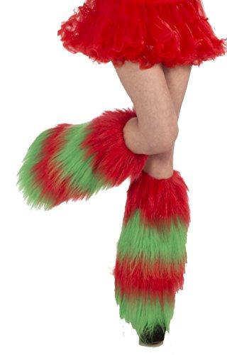 Forum Novelties Women's Christmas Fur Leg Warmers, Green/Red, One Size