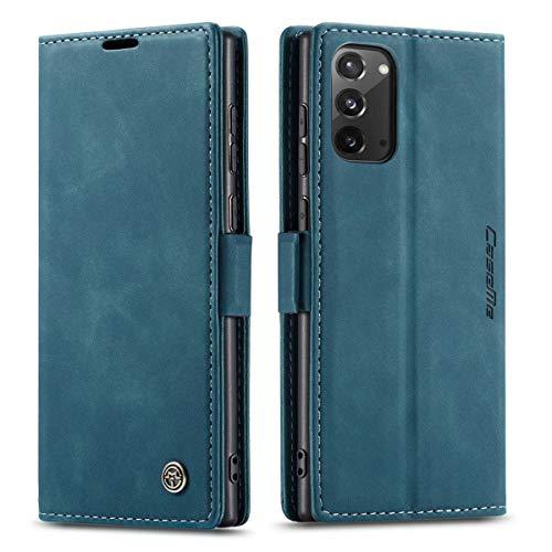 mvced Handyhülle Kompatibel mit Samsung Galaxy Note 20,Premium Leder Flip Hülle Schutzhülle mit Standfunktion,Blau
