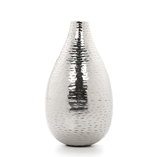 Hosley 8.75' High Silver Finish Hammered Metal Vase. Ideal Gift for Weddings, Special Events, Aromatherapy,Spa, Reiki, Meditation O4