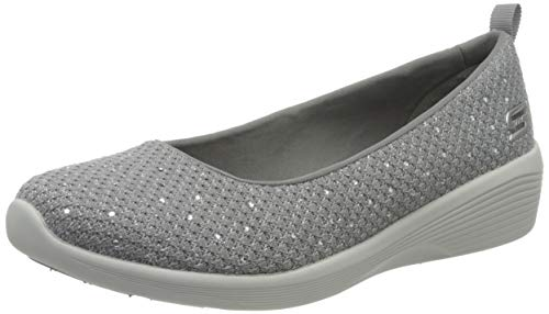 Skechers Arya Sweet Glitz, Zapatillas sin Cordones Mujer, Gris Gris Gris Metálico Knit Gris Claro Plateado Trim Gry, 38.5 EU