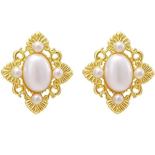 FEARRIN Pendientes a Granel Pendientes de Perlas de piña Pendientes Retro franceses Temperamento Rojo Neto Pendientes de geometría Femenina H183-KME761