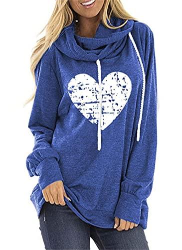 Sudaderas con Capucha de corazón para Mujer Tops Sudadera con Capucha de Moda de Manga Larga para Mujer Tamaño 2XL 3XL