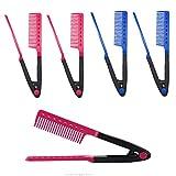 Enderezar Peine,Xiuyer 8pcs V forma Estilismo Cabello Peine Recto Plancha pelo cepillos cabello para DIY salon pelo belleza Rosa Roja Azul