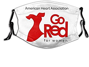 American Heart Association Go Red for Women Black Face Mask Bandanas Reusable Dustproof Abjustable Sport Mask with Filters Washable Balaclava for Adults