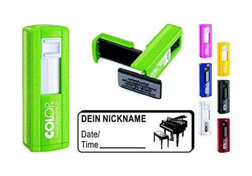 Geocachingstempel « PIANO » met persoonlijke Cachernaam/nikkelnaam rechthoekige stempel Geocaching Pocketstempel