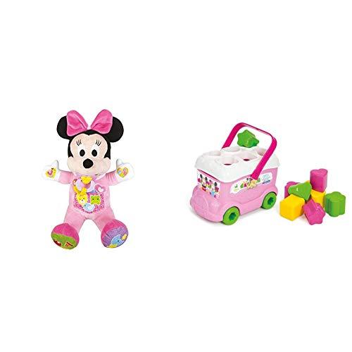 Clementoni - 62497 - Minnie - Ma poupée à cajoler - Disney - Premier age & 14933 - Le bus des formes de Minnie - Disney - Premier age