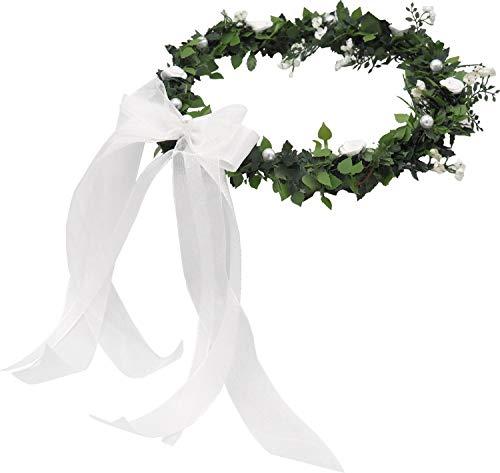 ZauberDeko Haarschmuck Haarkranz Weiß Kopfschmuck Hochzeit Kommunion Blumenkind