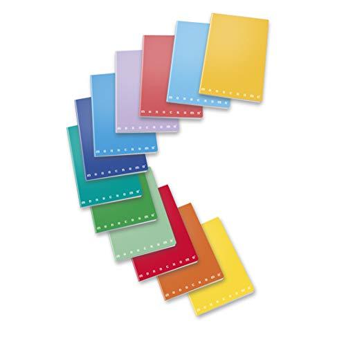 Pigna Monocromo - Conf. 10 Quaderni A5 , colori assortiti , 5M , quaderni a quadretti 5 mm