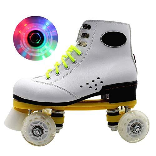 Patines De Ruedas Brillantes con Patines De Cuatro Ruedas Iluminados Roller Skates para Principiantes De Alto Nivel Diversión Intermitente Patines De Ruedas para Niños Y Niñas,37