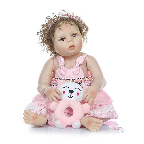 MaMadolls 22 pulgadas 56 cm cuerpo completo Slicone Reborn Baby Doll Girl realista Reborn Bath Toy anatómicamente correcto chica raíces mano pelo rizado niños baño dormir muñeca