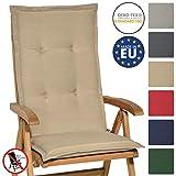 Beautissu Hochlehner Auflage Loft HL 120x50x6cm Sitzkissen Rückenkissen mit Schaumkern-Füllung Natur mit Oeko-Tex in diversen Farben