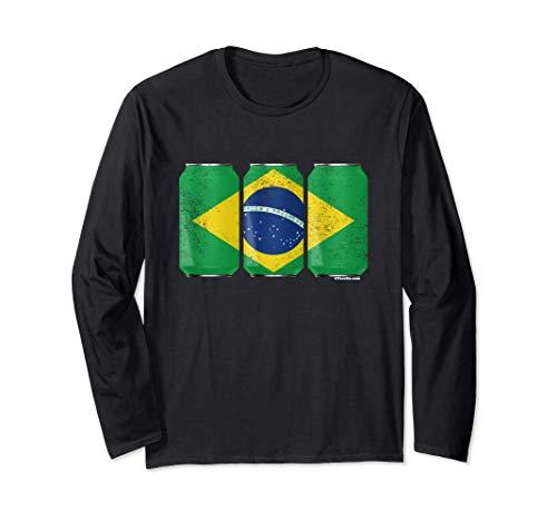 Latas de cerveza con gráfico Brasil con bandera brasileña Manga Larga