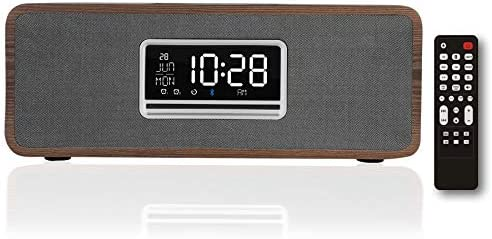 KEiiD Boombox Clock CD Player Wooden Desktop Speakers Stereo System for Home with FM Radio Bluetooth product image