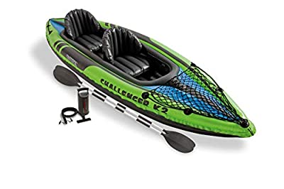 Green 2 person Intex Challenger K2 Kayak with Paddles