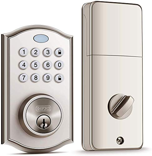 Keyless Entry Door Lock, Handy to Install & Programme Keypad Deadbolt, Electronic Door Locks with Auto-Alarm & Auto-Lock Function for Safety, 50 Customizable User Codes & Back-Lit Smart Door Lock