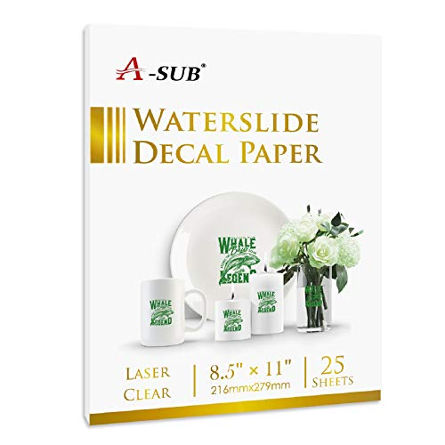 A-SUB 25 Sheets Waterslide Decal Paper for Laser Printers –...
