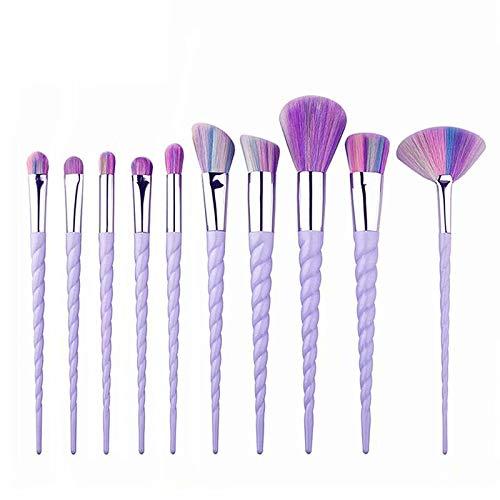 10 Pcs Licorne Maquillage Brosses Ensemble, Mode Licorne Conception Poignée Forme Make Up Brosses pour Fondation Sourcils Eyeliner Blush Cosmétique Concealer
