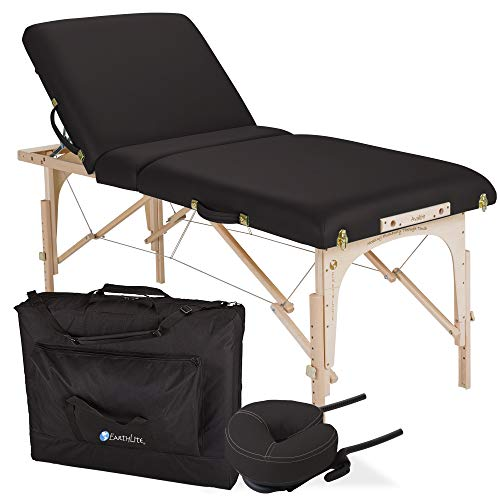 "EARTHLITE Portable Massage Table Package AVALON TILT – Foldable Treatment Table with Tilt Option, Reiki Endplate, Premium Flex-Rest Face Cradle & Strata Cushion, Carry Case (30""x73"") , Black"