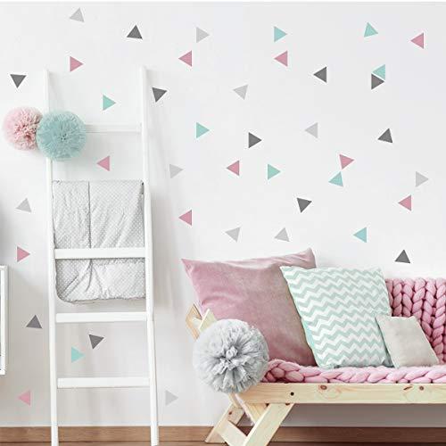 50 Triángulos nórdicos combinación rosa gris - Vinilos bebé