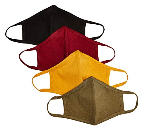 Quality Durables Unisex Adult 4-Pack Washable Reusable Face Mask, Olive Night/Gold/Burgundy/Black, Large/X-Large