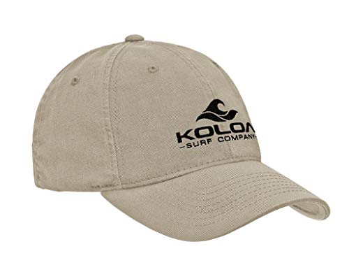 Koloa Embroidered Wave 3' Logo Classic Cotton Unstructured Dad Hat-Khaki/Black