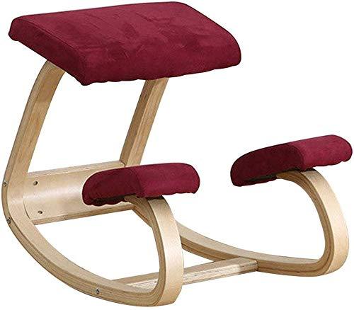 LAL6 Kniestuhl Aus Schaukelndem Ergonomischem Holz Kniehocker Für Büro & Zuhause,red
