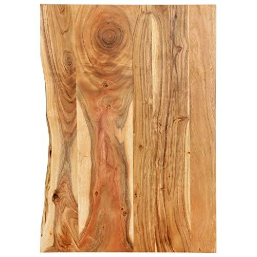 vidaXL Akazienholz Massiv Waschtischplatte Badezimmer Waschtisch Waschtischkonsole Platte Holzplatte für Aufsatzbecken Badmöbel Baumkante 80x55x2,5cm