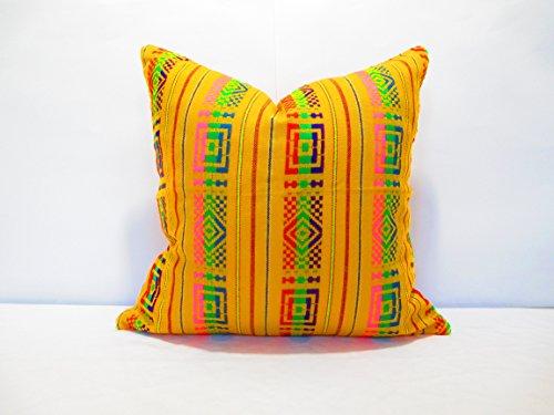 """Amarillo Tribal almohadas, fundas de almohada de colores, Bohemian Decor, Boho ropa de cama, Amarillo Funda de almohada, Mexican cojín funda de almohada 18x 18"""""""