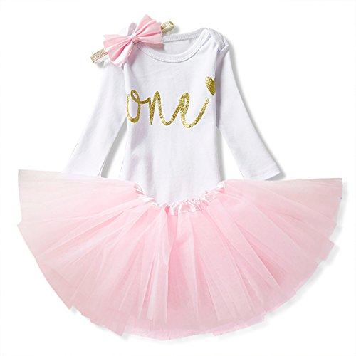 NNJXD Mädchen Newborn 1. Geburtstag 3 Stück Outfits Strampler + Tutu Kleid + Stirnband Größe (1) 0-12 Monate Rosa