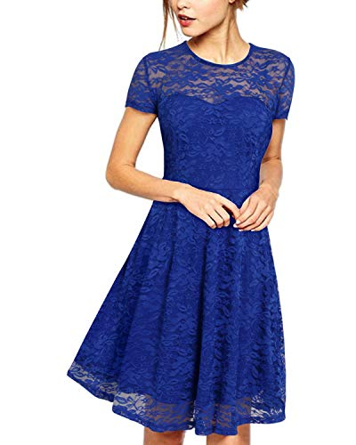 ZANZEA Damen Spitze Lace Party Cocktail Bodycon Club Kurz Abend Minikleider Blau EU 38/US 6