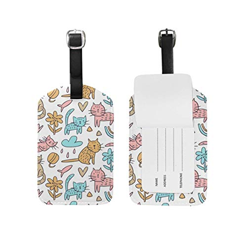 shenguang My Daily Funny Cat Doodle Luggage Tag PU Leather Bag Suitcases Baggage Label 2 Pieces Set