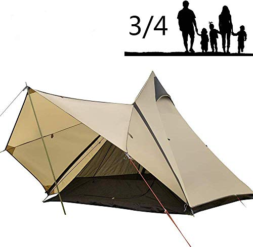 Camping Teepee Tent Yurt Tent with Screen 4 Season Double Layers Waterproof Anti-UV Windproof Tents for Outdoor Camping Hiking Hunting 3-4 Person (Camel)